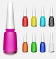 Set of multicolored bottles of nail polish vector image