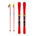 touring set skiing equipment - skis and poles in vector image