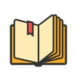 Open book with ribbon bookmark icon vector image