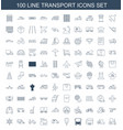 100 transport icons vector image vector image