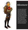 a card with a picture adventurer isolated on vector image vector image