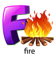 A letter F for fire vector image vector image