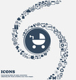 Baby Stroller icon in the center Around the many vector image vector image