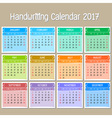 Basic Handwriting Calendar 2017 vector image