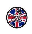 british cyclist cycling union jack flag icon vector image vector image