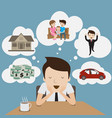 businessman dream at coffee break cartoon vector image vector image