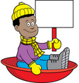 cartoon african american boy sitting in a sled and vector image vector image