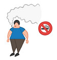 cartoon man smoking cigarette beside no smoking vector image vector image