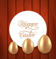 Celebration card with Easter golden eggs on wooden vector image vector image