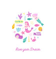 childish card with cute mermaids vector image vector image