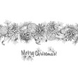 christmas seamless garland realistic botanical ink vector image