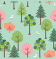 cute birds in colorful forest seamless pattern vector image vector image