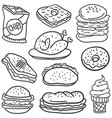 doodle of food with hand draw vector image vector image