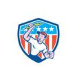 Electrician Lightning Bolt USA Flag Cartoon vector image vector image