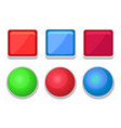 empty glossy web buttons square and round shape vector image vector image