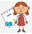 girl cartoon school student icon vector image vector image