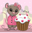 greeting cartoon rat with cake vector image vector image