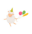 happy fluffy sheep with party hat on head holding vector image