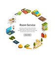 isometric hotel icons vector image