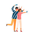 joyful couple in funny glasses and ears taking vector image vector image