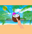 landscape palm tree on beach cocktail vector image vector image