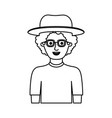 man half body with hat and glasses and t-shirt vector image