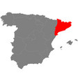 map of spain with borderrs of catalonia vector image
