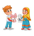 muslim girl and boy exchanging gifts vector image