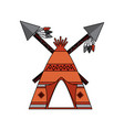 native american indian teepee home with crossed vector image vector image