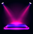 neon podium with lighting stage podium scene vector image vector image