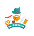 oktoberfest poster bearded man in a green hat vector image vector image
