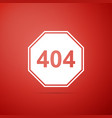 page with a 404 error icon on red background vector image vector image