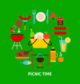picnic time postcard vector image