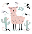 pink cartoon lama alpaca cactuses and hi text vector image