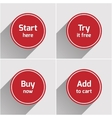 Red round flat web buttons set vector image vector image
