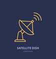 satellite dish antenna flat line icon wireless vector image