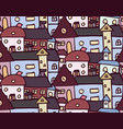 seamless doodle pattern with houses for your vector image vector image