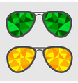 Set of glasses with green and yellow abstract vector image