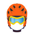 ski helmet snowboard glasses goggles in flat style vector image