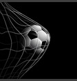 soccer ball on black vector image vector image