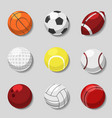 Sports balls cartoon ball set for soccer vector image