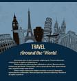 travel around world retro poster vector image