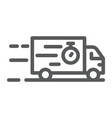 truck line icon delivery and shipping lorry sign vector image
