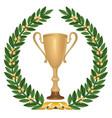 winner cup trophies with laurel wreath golden vector image