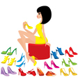 young woman tries on shoes vector image vector image