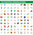 100 graphic design icons set cartoon style vector image vector image