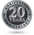 20 years anniversary silver label vector image