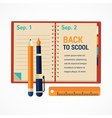 Back to school diary notebook background vector image vector image