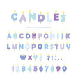 Birthday candles font design abc letters and