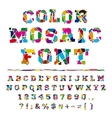 Broken colored alphabet on a light background vector image
